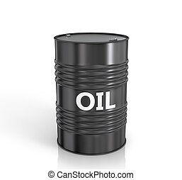 Black oil barrel on white background.