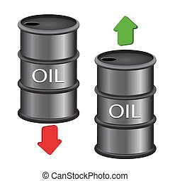 black oil barrel with red and green arrows on white background eps 10