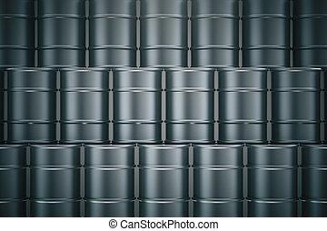 Black oil barrels - Stacked black oil barrels. 3D Rendering