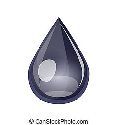Black oil drop isolated on white background, icon.
