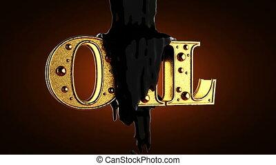 black oil on golden oil word. alpha