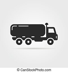 black oil tanker icon. concept of distribution, large van,...