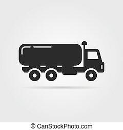 black oil tanker icon. concept of distribution, large van,...