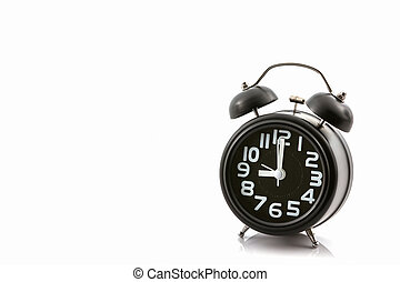Black old fashion alarm clock. - Black old fashion alarm...