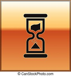 Black Old hourglass with flowing sand icon isolated on gold background. Sand clock sign. Business and time management concept. Vector Illustration