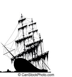 Black old ship at the sea ground isolated on white