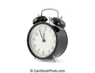 Black old style alarm clock