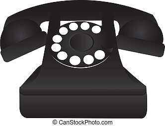 black old telephone isolated over white background vector...