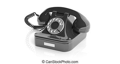 Black old telephone on white background. 3d illustration