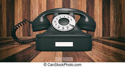 Black old telephone on wooden background. 3d illustration