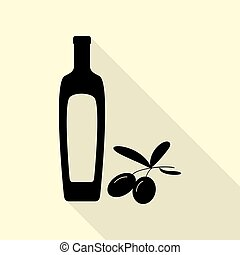 Black olives branch with olive oil bottle sign. Black icon with flat style shadow path on cream background.