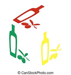 Black olives branch with olive oil bottle sign. Isometric style of red, green and yellow icon.