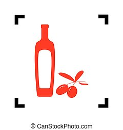 Black olives branch with olive oil bottle sign. Vector. Red icon inside black focus corners on white background. Isolated.