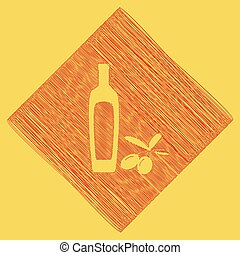 Black olives branch with olive oil bottle sign. Vector. Red scribble icon obtained as a result of subtraction rhomb and path. Royal yellow background.