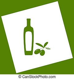 Black olives branch with olive oil bottle sign. Vector. White icon obtained as a result of subtraction rotated square and path. Avocado background.