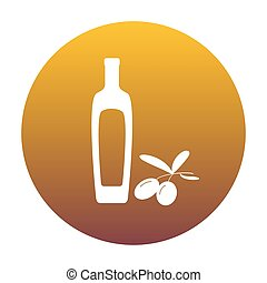 Black olives branch with olive oil bottle sign. White icon in ci