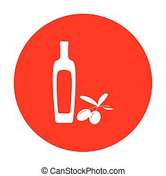 Black olives branch with olive oil bottle sign. White icon on red circle.