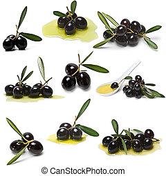 Black olives collection.