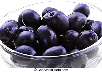Black olives-dishes with appetizing snack