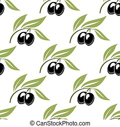 Black olives seamless pattern