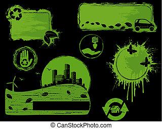 Black on green Grunge eco design elements