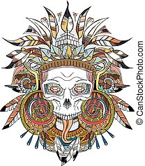 Aztec indian Skull - black on white Aztec indian Skull,...