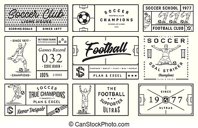 Black on white background soccer badge set number 2