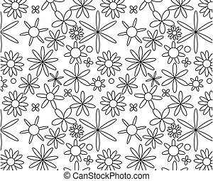 Black on white seamless floral pattern