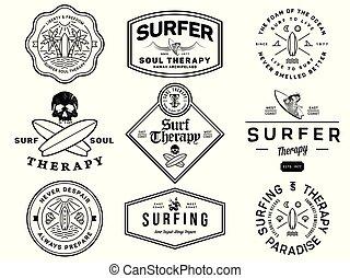 Black on white surf badges vol. 1