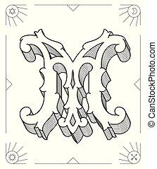 Black on white vector illustration of capital letter M