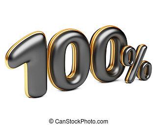 black one hundred percent symbol, 3d render 100%