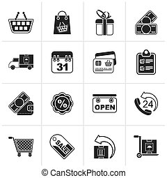 Online shop icons - Black Online shop icons - vector icon...