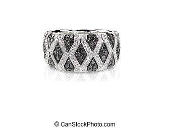 Black Onyx and Diamond Pave Wedding Anniversary Ring Isolate...