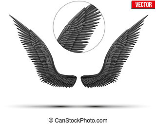 Black open angel wings. Vector.