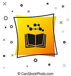 Black Open book icon isolated on white background. Yellow square button. Vector Illustration