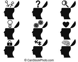 black open human head icons set