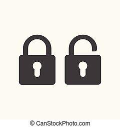 Black open locked padlock flat icon.