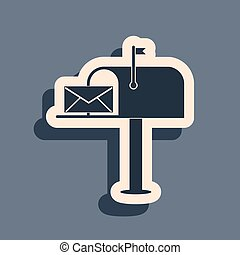 Black Open mail box with an envelope icon isolated on grey background. Long shadow style. Vector Illustration