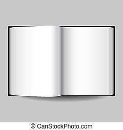 Black opened book isolated on grey vector