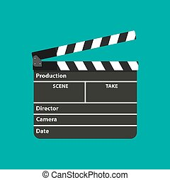Black opened clapperboard. Movie clapper board