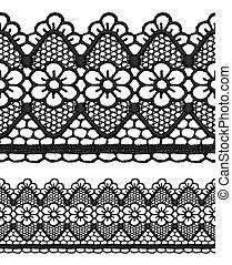Black openwork lace seamless border. Realistic vector...