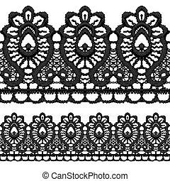 Black openwork lace seamless border.