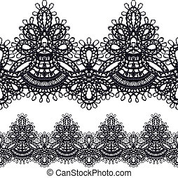 Black openwork lace seamless border. Realistic vector ...