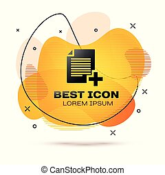 black , optellen, nieuw, bestand, pictogram, vrijstaand, op wit, achtergrond., kopie, document, icon., vloeistof, kleur, banner., vector, illustratie