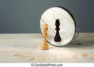 concept about racism. - Black or white king chessmen in ...