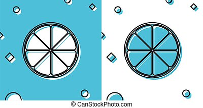 Black Orange in a cut. Citrus fruit icon isolated on blue and white background. Healthy lifestyle. Random dynamic shapes. Vector Illustration