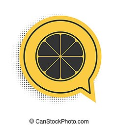 Black Orange in a cut. Citrus fruit icon isolated on white background. Healthy lifestyle. Yellow speech bubble symbol. Vector