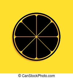 Black Orange in a cut. Citrus fruit icon isolated on yellow background. Healthy lifestyle. Long shadow style. Vector
