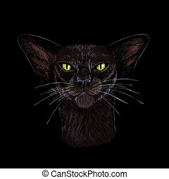 Black oriental cat face with green eyes hand drawn