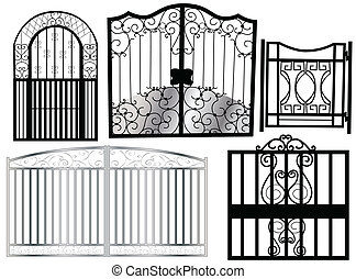 ornament gate - black ornament gate on white background